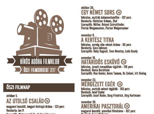 Hírös Agóra Filmklub 2017 ősz