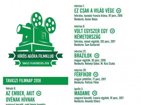 Hírös Agóra Filmklub 2018 tavasz